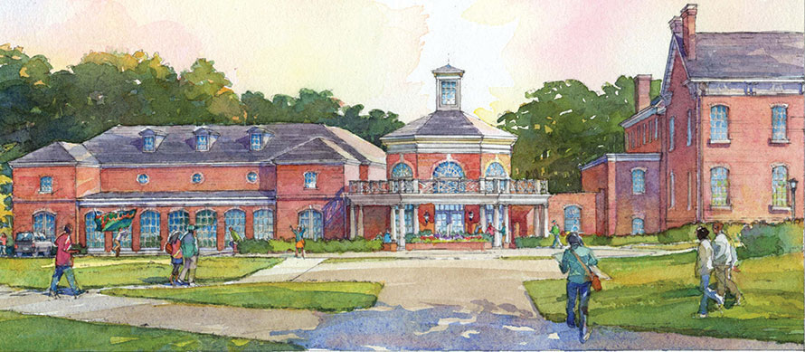 Artist rendering of the Alumni House expansion